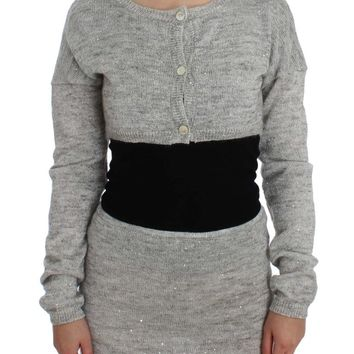 Galliano Gray Cropped Knitted Cardigan Sweater