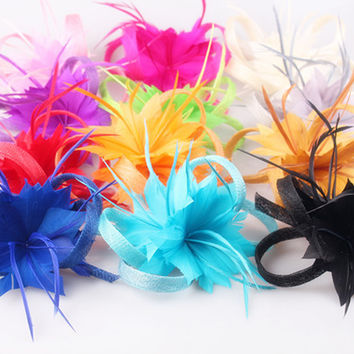 16 colors spring sinamay fascinators with 2 feather flowers as bridal wedding hair accessories cute party and race headwear