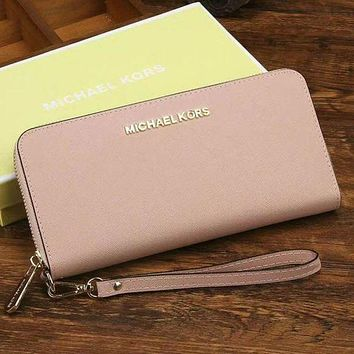 Michael Kors Trending Women Leather Zipper Wallet Purse Pink G