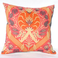 Bohemian Pink Orange and Grey Folk Print Throw Pillow, 14x14, Dorm Decor – Pillow Insert Included