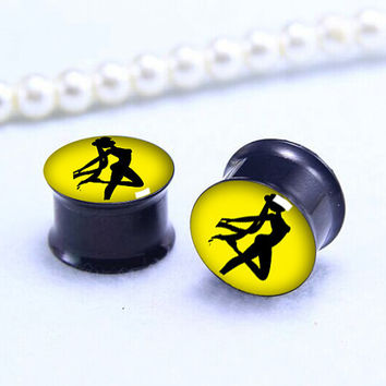 Sailor Moon plugs   , Screw on Gauge ear plugs ,  double flared  plugs,Black Titanium ear plugs ,Pricing body jewerly