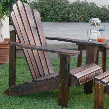 Wooden Adirondack Chair in Weather Resistant Burnt Brown Finish