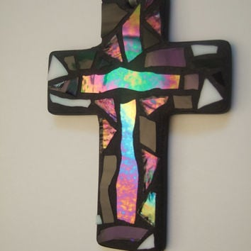 "Mosaic ""Everyday"" Ornament, Cross, Pink + Purple + Iridescent Glass, Handmade Stained Glass Mosaic Design"
