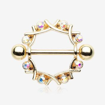 A Pair of Golden Sparkle Weave Nipple Shield Ring