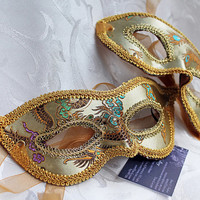 Matching Couples Gold Satin Brocade and Leather Masquerade Masks