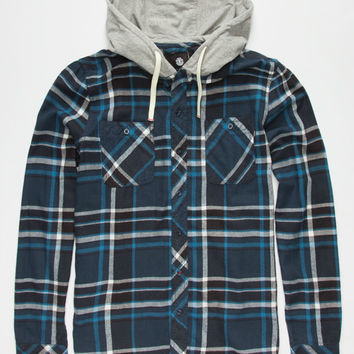 Element Stander Mens Hooded Flannel Shirt Dark Blue  In Sizes