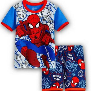 Hot Sale Sleepwear Kids Sets Short Sleeve Cartoon Boy Pajamas Set For Baby Sleep Wear Clothing 2-7 Year nightgown Sleepwear