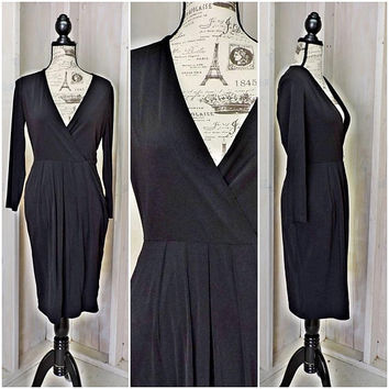 Calvin Klein dress / 90s black cocktail dress / bodycon / form fit / sexy / classy / size S /4 / 6