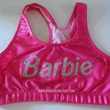 Barbie Pink/Silver Metallic Sports Bra Cheerleading