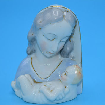 Miniature Mary & Jesus Statuette Vintage Porcelain Sacred Holy Family Statue Religious Figurine Mother Mary Baby Jesus Ceramic Figure