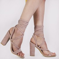 Julia Heels in Blush Pink Faux Suede