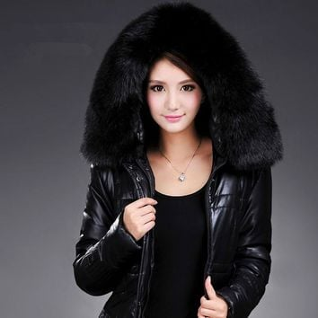 Women's down jacket Slim stylish long section pu leather padded jacket winter warm Large fur collar coat plus size L-6XL 938