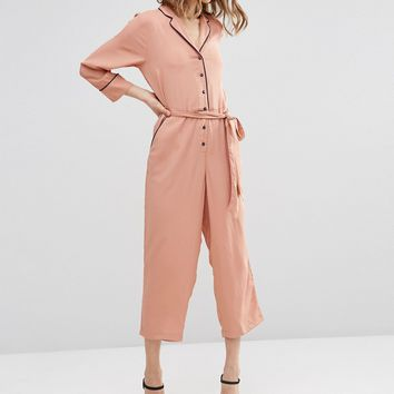 ASOS Jumpsuit with Culotte Leg and Contrast Piping