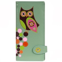 New Woman's Light Green Colourful Owl Large Wallet By Shagwear