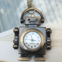 Retro Copper Robot Pocket Watch Necklace Pendant VINTAGE Style - Other