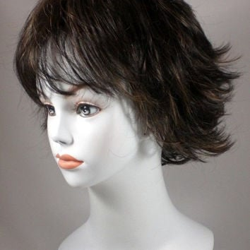 Auburn/Blond Short Wavy Hair Wig Wigs w/ layers & flips
