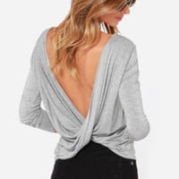 Scoop de Ville Heather Grey Long Sleeve Top