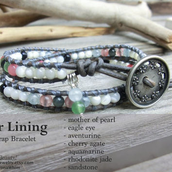 Silver Lining Leather Wrap Handmade Japanese Powerstone Bracelet Jewelry by Off on a Whim - Ethnic Earth Gemstones