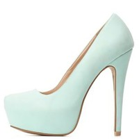 Qupid Almond Toe Platform Pumps by Charlotte Russe - Mint