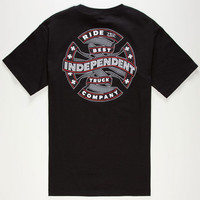 Independent Ribbon Cross Mens T-Shirt Black  In Sizes