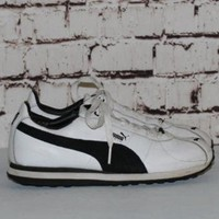 90s puma Sneakers US 6.5 Leather Black and White Trainers 6 Hipster FestIval Hip Hop C