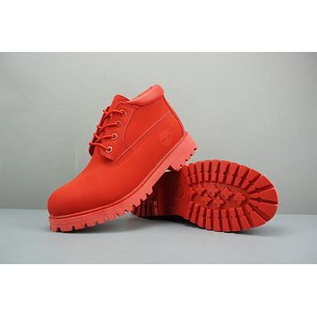 Timberland Leather Lace-Up Boot Low Red
