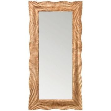 GM Luxury Croazia Rectangular Full Length Wall Art Hand Carved Mirror, Antique Gold Leaf 35.4x71