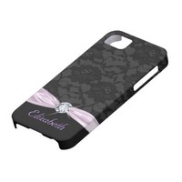 Elegant Black Lace Purple Satin Ribbon and Diamond iPhone 5 Cases from Zazzle.com