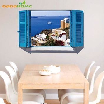 3D Mural Blue Mediterranean Scenery Fake Window  Bedroom Living Room Entrance background Art pvc The Removable Wall Sticker