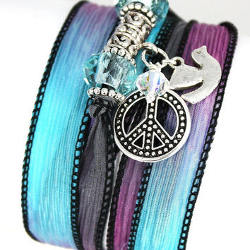 Hand Dyed Silk Wrap Bracelet-Burried Treasure with Pewter Peace Symbol, Peace Dove, and Baby Blue Swarovski Crystals