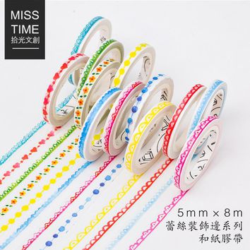 20 pcs/lot DIY Japanese Paper Decorative Adhesive Tape Cartoon Lace decoration Washi Tape/Masking Tape Stickers 5mm*8m