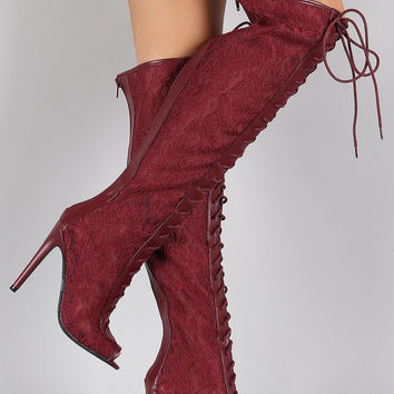 Qupid Floral Lace Stiletto Thigh High Lace Up Boot