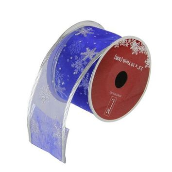 "Royal Blue and Silver Glitter Snowflakes Wired Christmas Craft Ribbon 2.5"" x 10 Yards"