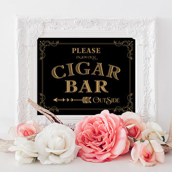 "Cigar Bar Outside Sign - 8x10 - DIY Printable sign in ""Vintage"" art deco style - PDF and JPG files - Instant Download"