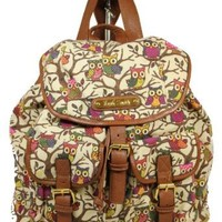 Owl Print Twin Pocket Backpack / Rucksack / School Bag: Amazon.co.uk: Shoes & Accessories