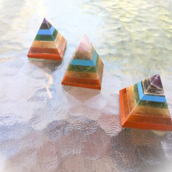 Seven Layer Chakra Pyramid Crystal / Natural Healing Crystal (One) with FREE Bag & Affirmation Card.Healing Energy Infused. TEMPT TEAM
