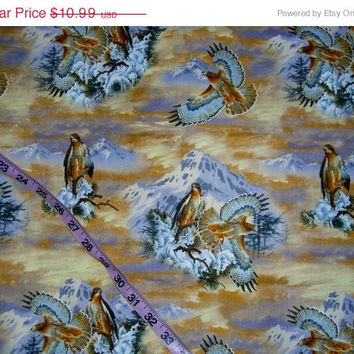 Bird fabric Hawk Falcon snow tree mountains cotton quilt print quilting sewing material to sew by the yard crafting project David Textiles