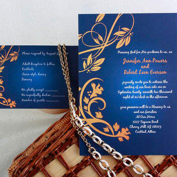 Navy Blue and Gold Wedding Invitations Cards - Fall Wedding Invitations - Damask, Free RSVP Cards and Envelope EWI042