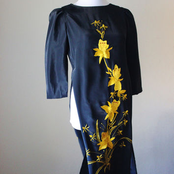 Vintage 1970s Black Oriental waist high slit dress- Satin Floral Hand Stitching