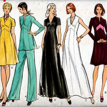 Vogue 8467 Sewing Pattern Retro 70s Cocktail Party Colorblock Dress Gown Tunic Wide Leg Pants Disco Fashion Plus Size Full Figure Bust 40