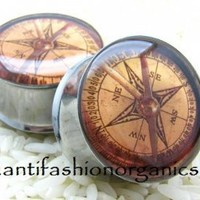 Compass Steampunk Plugs [Compass Steampunk Plugs gauges] - $19.95 : AntiFashion Organics - Organic Wood Plugs and Tunnels, Featuring Resin Picture Plugs Gauges, AntiFashion Organics - Organic Wood Plugs and Tunnels, Featuring Resin Picture Plugs Gauges