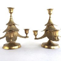Pair of Vintage Brass Christmas Tree Candle Holders