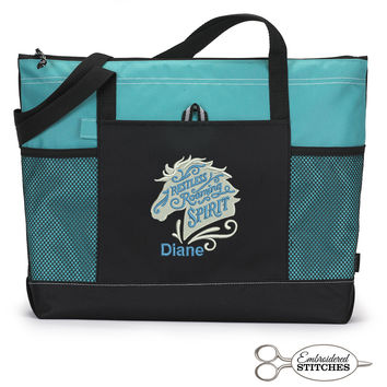Restless Roaming Spirit Western Themed Personalized  Zippered Tote Bag with Mesh Pockets