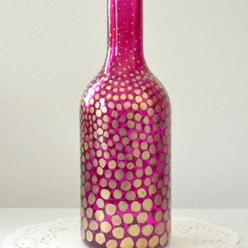 Painted Glass Bottle, Painted Glass Vase, Painted Glassware, Colored Glass Bottles