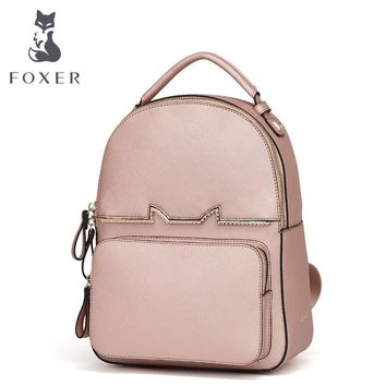 FOXER Brand Girl's Cow Leather School Bag Women Backpacks Soft preppy style Split Cowhide Solid Backpack