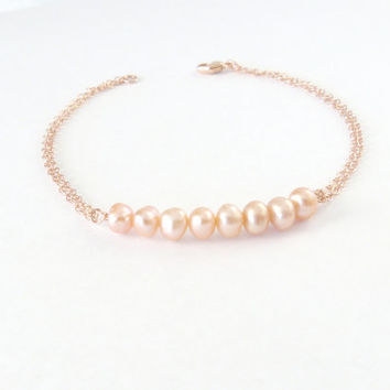 Romantic Wedding Jewelry Pearl Bracelet Bridesmaid Gift Blush Freshwater Pearl Rose Gold Bracelet Bridesmaid Jewelry