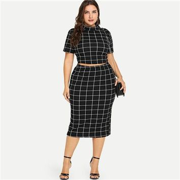 Two Piece Women Plaid Crop Top And Skirt Set