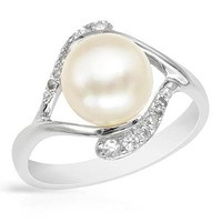 L&zuan Sterling Silver Jewelry Ring White Cultured Freshwater Diameter 9~10mm Pearl Trendy Ring 925 Sterling Silver