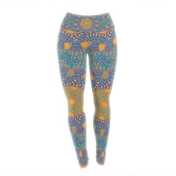 "Miranda Mol ""Prismatic Orange"" Orange Blue Abstract Yoga Leggings"