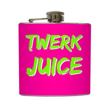 Twerk Juice Whisky Flask Funny Bachelorette Party Dance Club 21st Birthday Bridesmaid Gifts   Stainless Steel 6 Oz Liquor Hip Flask Lc 1171